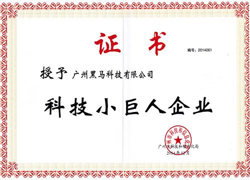 科技小巨人企业证书